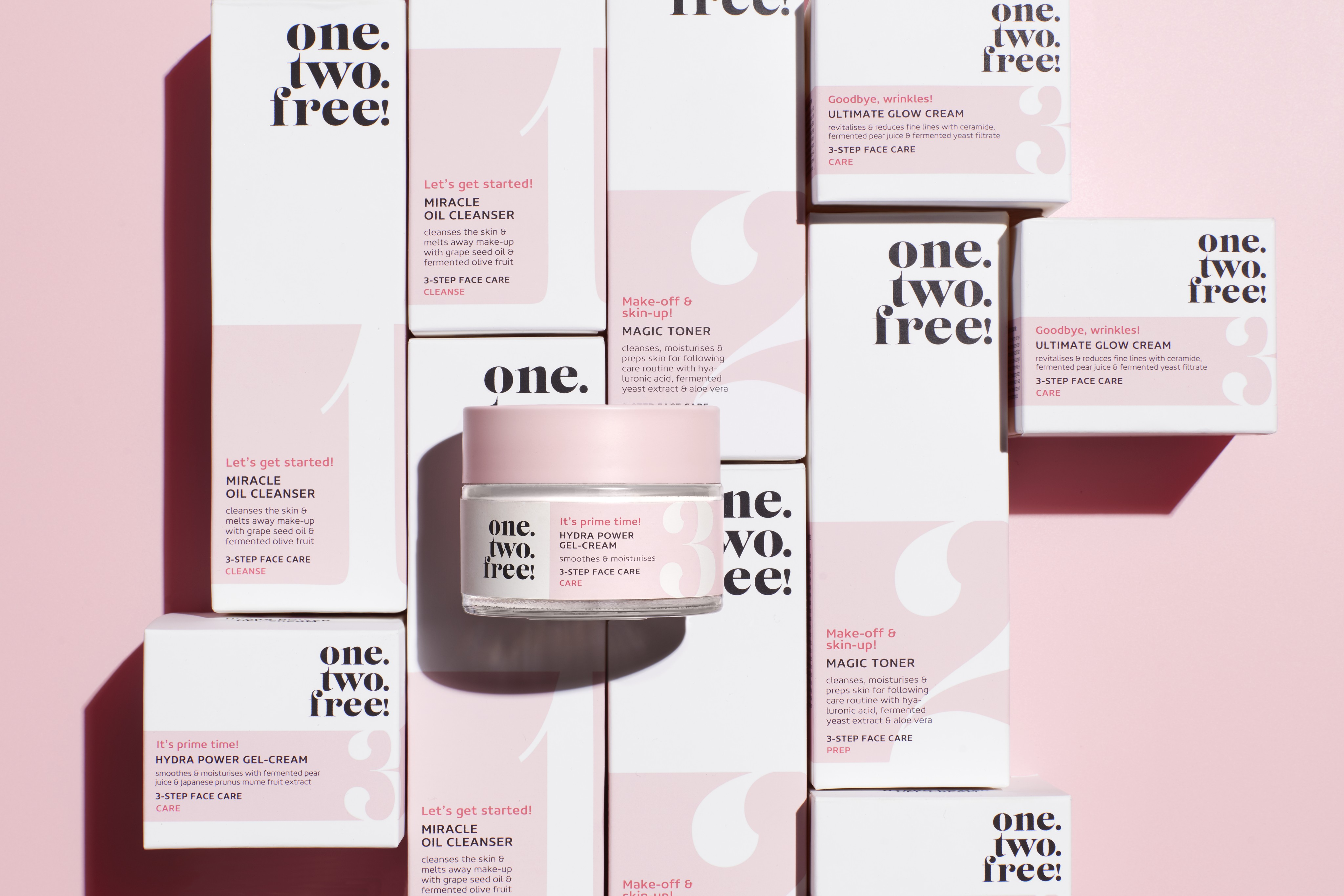 Skincare-product-one-two-free-all-products-power-gel-focus-clean-pink-shadow-unlimited-Web-Rendition