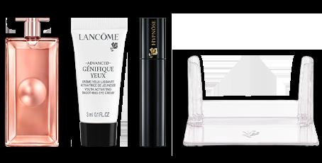 Set dárků Lancôme (vůně Idole L'Intense 5 ml, oční krém Advanced Génifique 3 ml, mini řasenku Hypnôse a stojánek na vůně z řady Idôle)