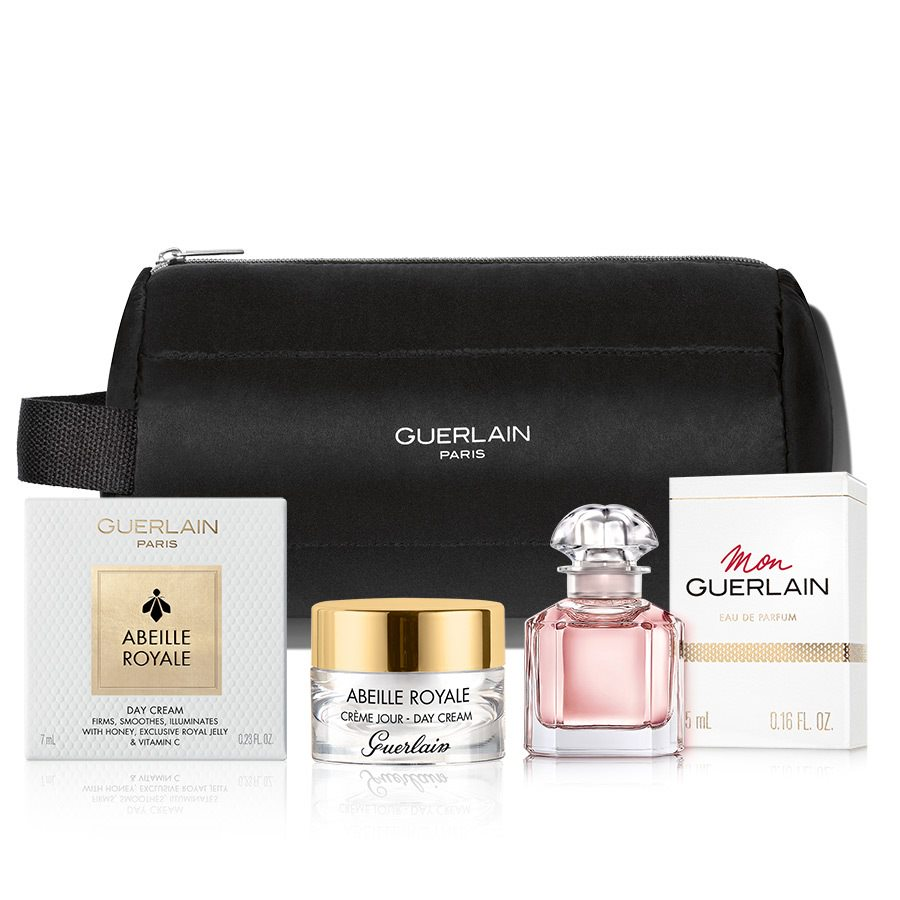 Guerlain Set (miniatura parfému Mon Guerlain, miniatura denního krému z řady Abeille Royale a taštička Guerlain.)